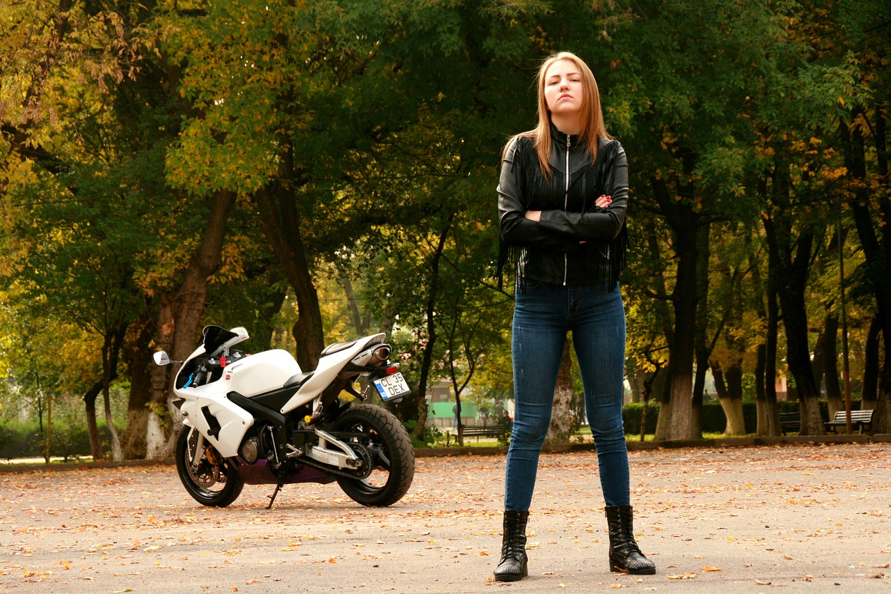 Girl Motorcycle Leather Jacket Ride  - AdinaVoicu / Pixabay